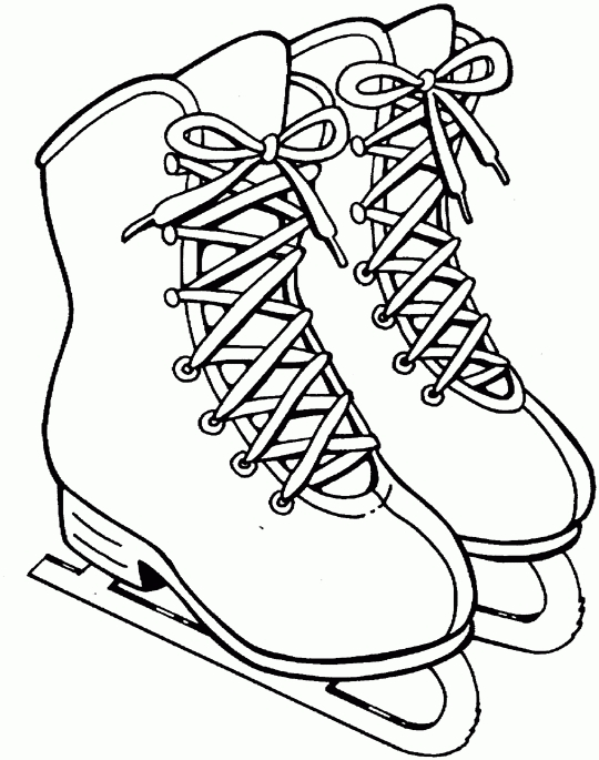 printable holiday coloring pages - ice skates winter