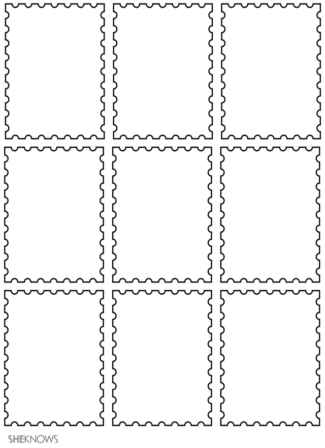 printable holiday coloring pages - postage stamps