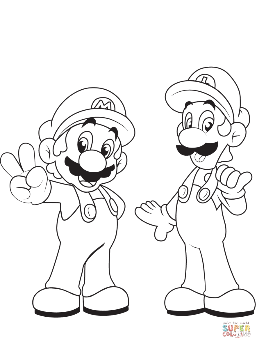 printable mario coloring pages - luigi with mario