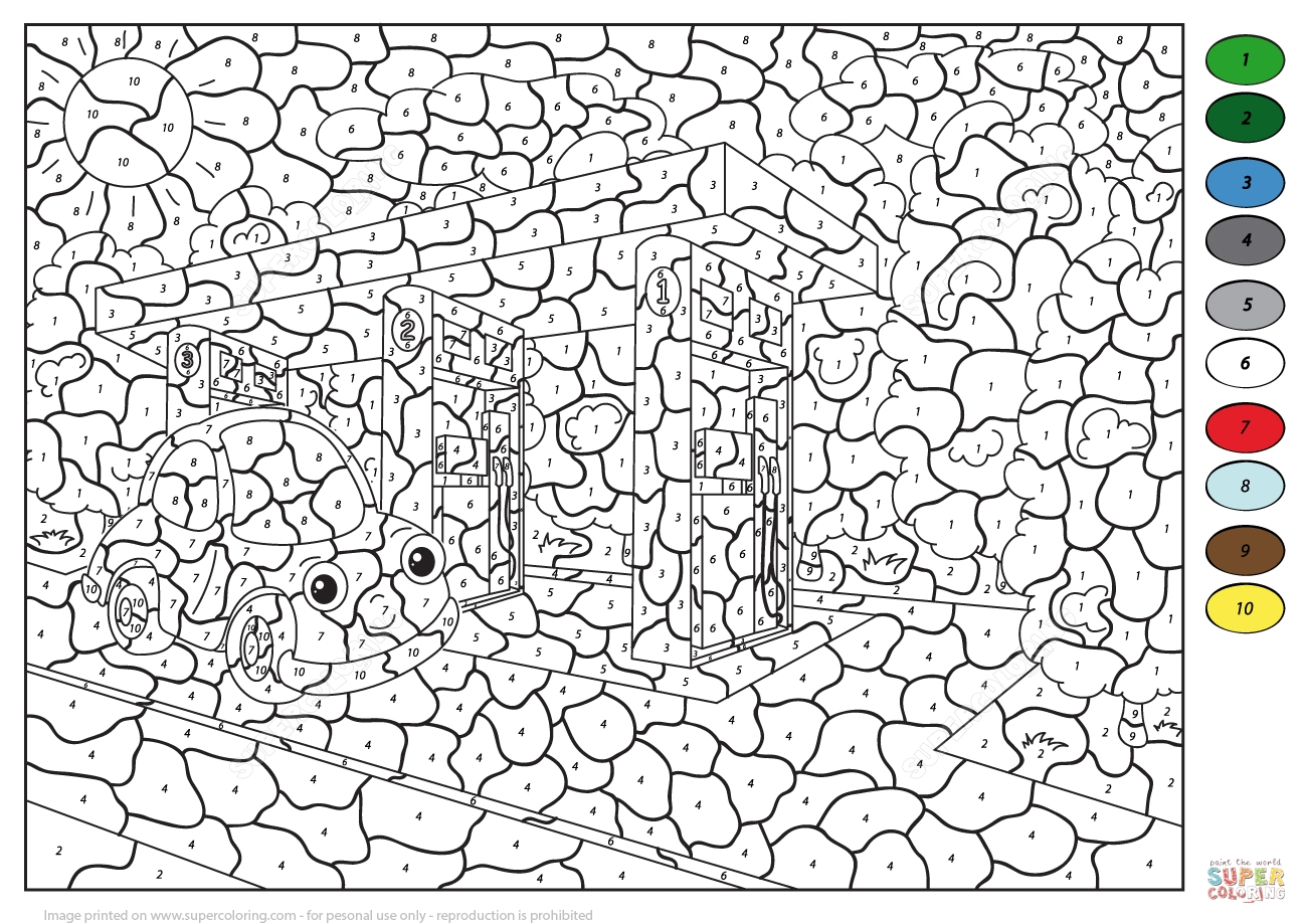 printable number coloring pages - car at gas station color by number printable coloring pages click the car numbers printables christmas