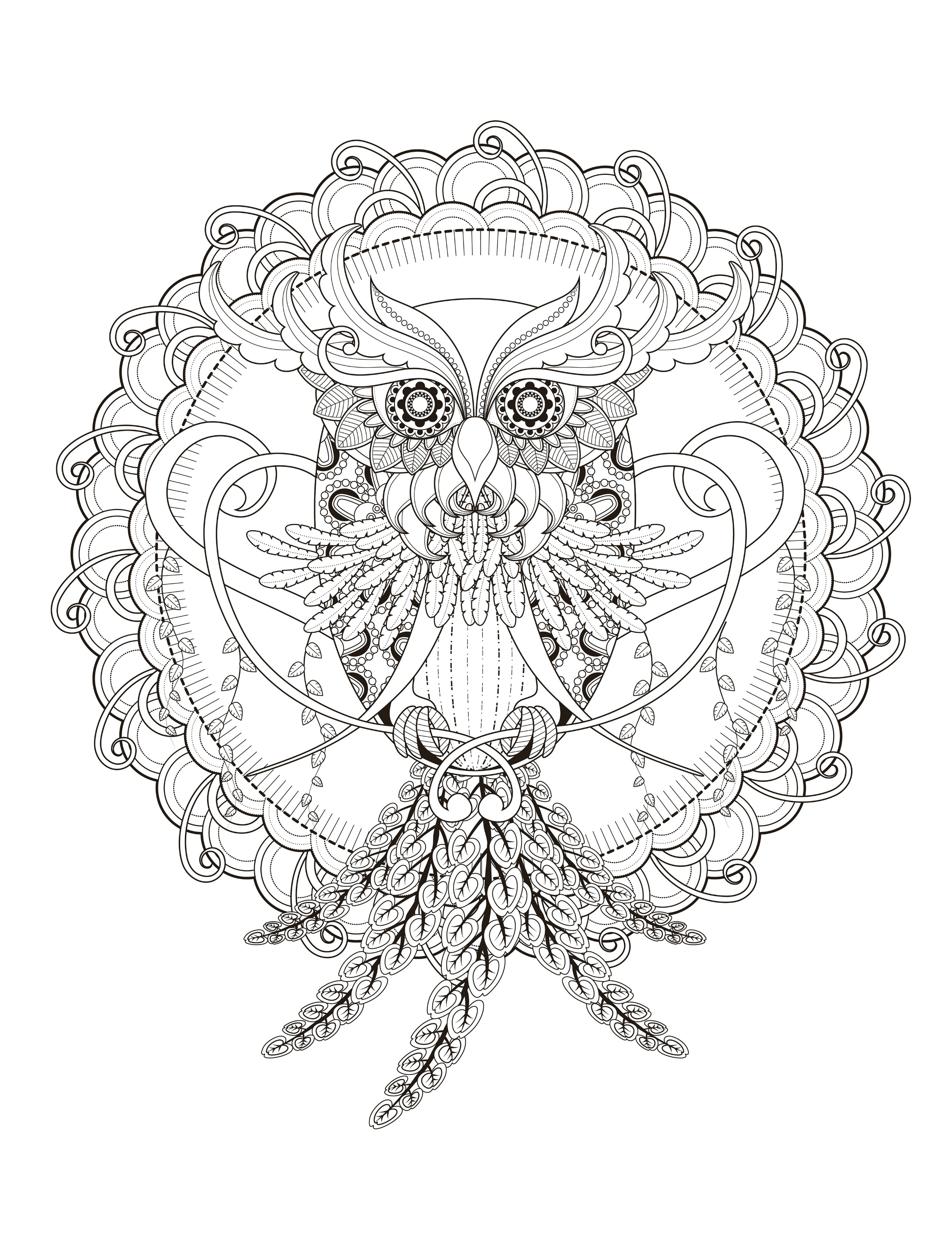 printable owl coloring pages for adults 7 - Free Owl Coloring Pages 2