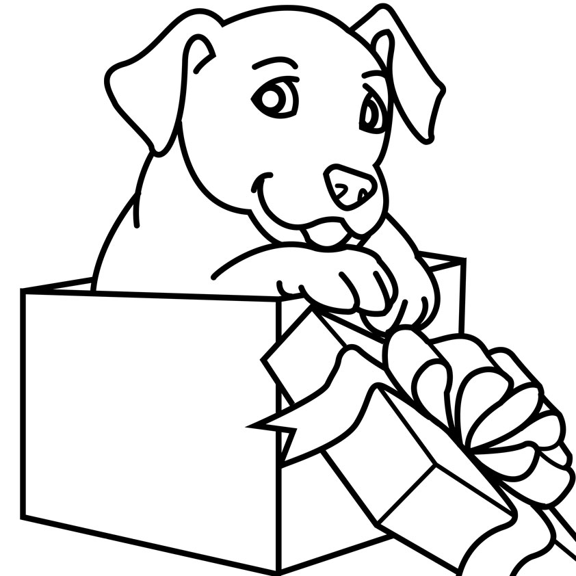 printable puppy coloring pages - christmas animal coloring pages