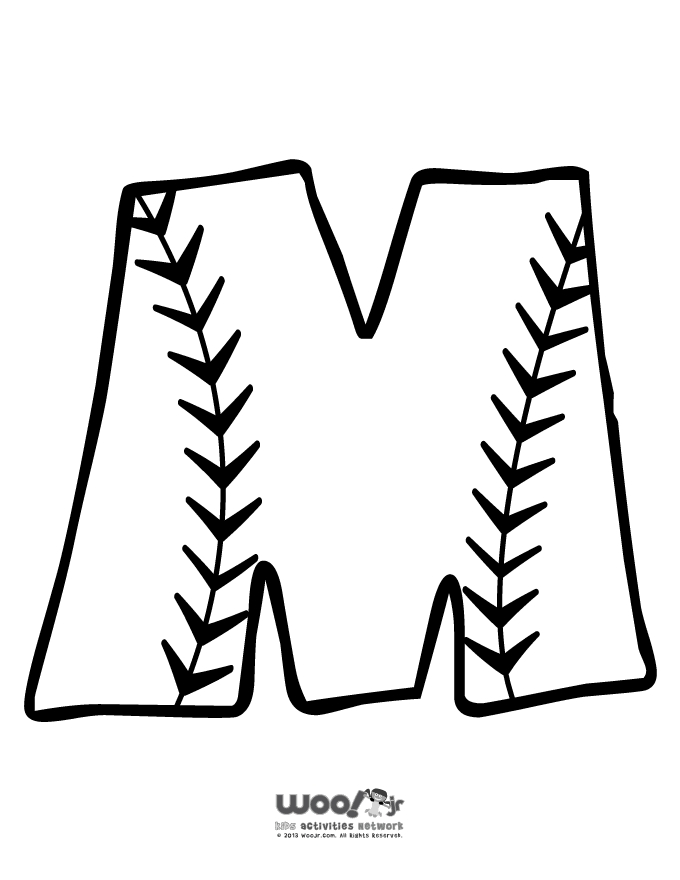 printable summer coloring pages - baseball alphabet m