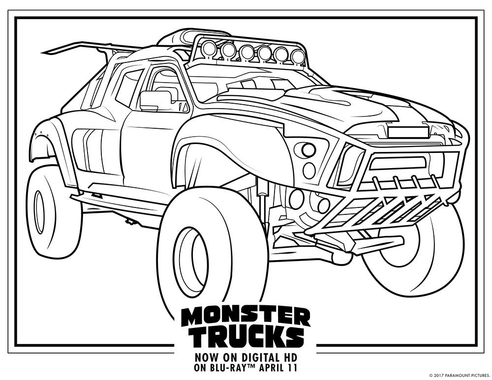 printable truck coloring pages - monster trucks printable coloring pages