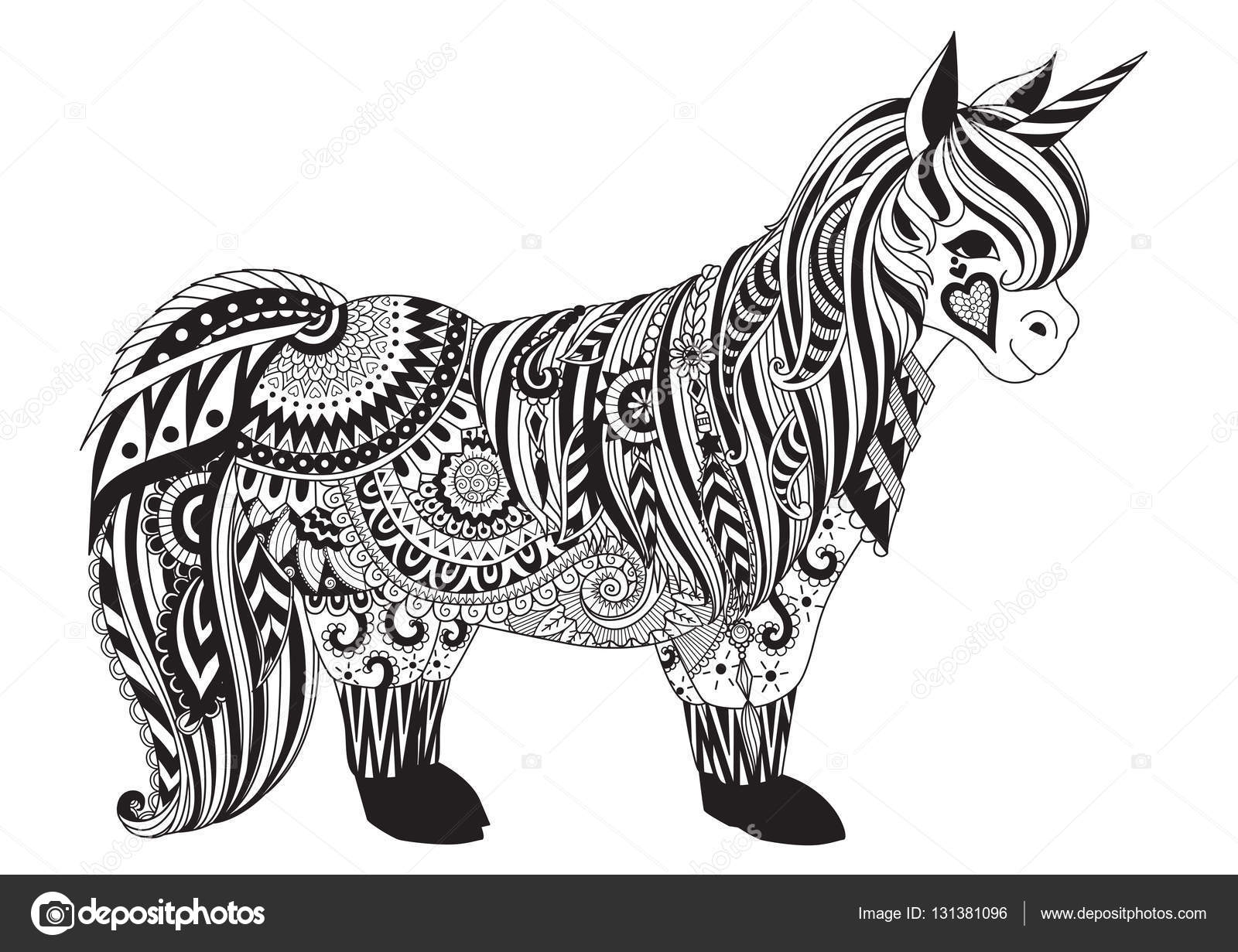 printable unicorn coloring pages - stock illustration zendoodle design of pony for