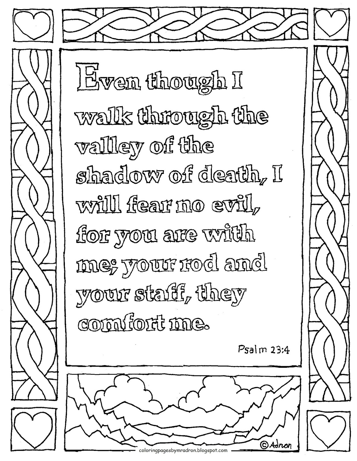 psalm 23 coloring page - printable coloring page psalm 234