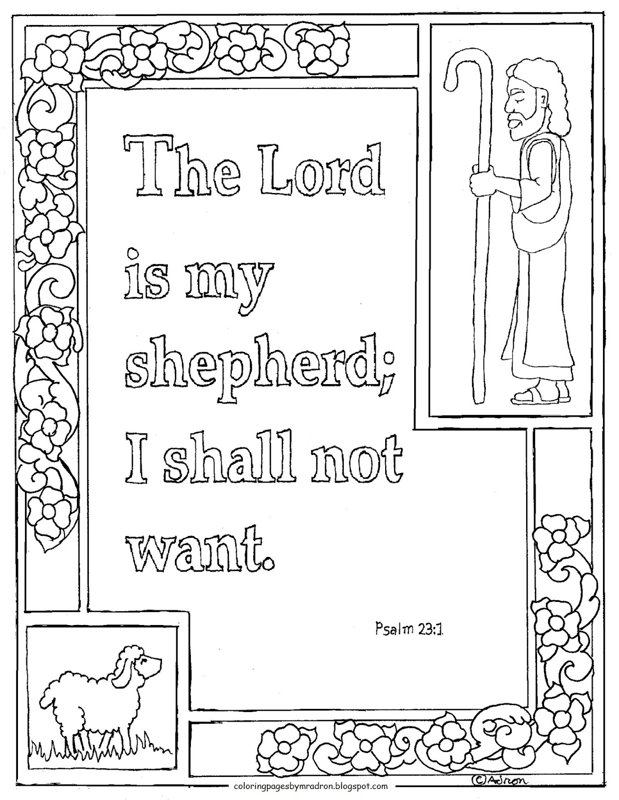 psalm 23 coloring page - printable psalm 231 lord is my shepherd