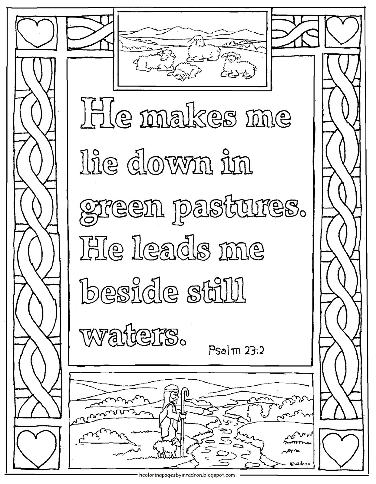 psalm 23 coloring page - printable psalm 232 coloring page green
