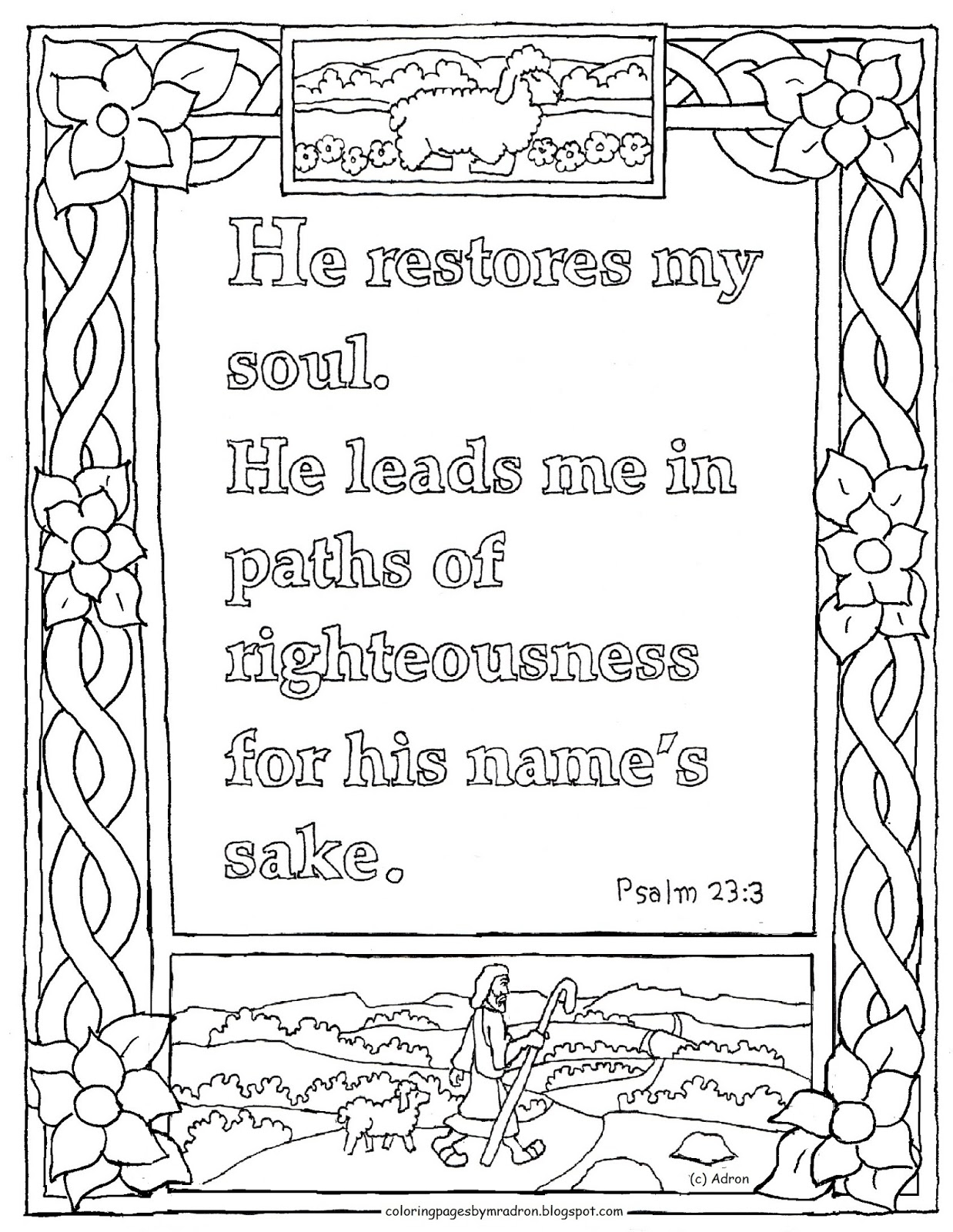 psalm 23 coloring page - printable psalm 233 coloring page he