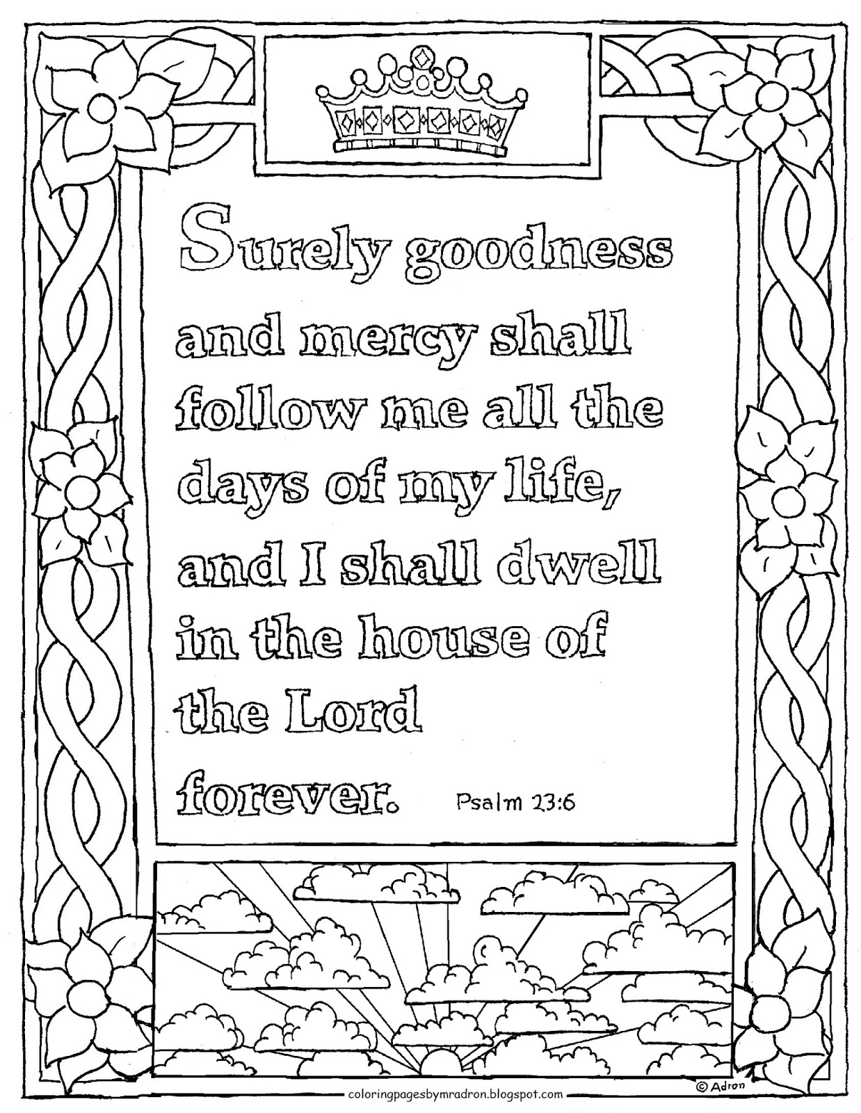 psalm 23 coloring page - printable psalm 236 coloring page