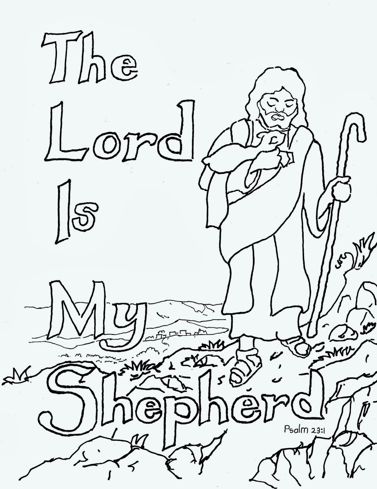 psalm 23 coloring page - the lord is my shepherd coloring page