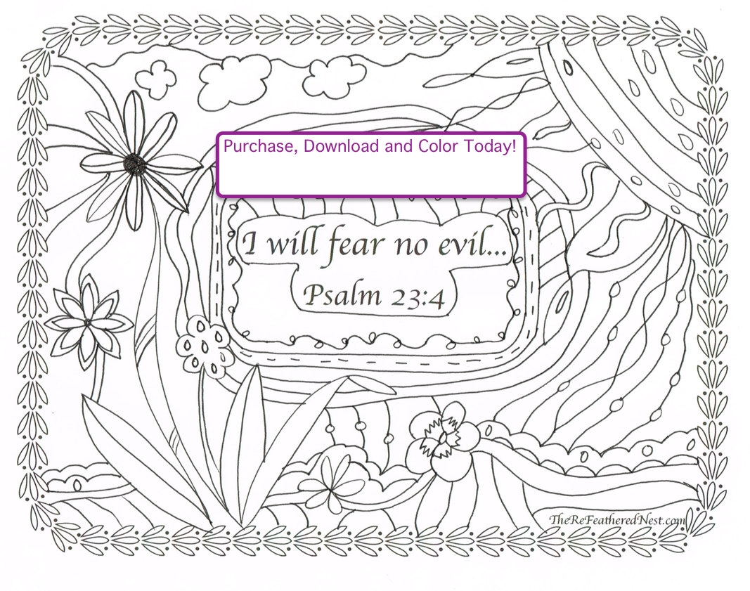 psalm 23 coloring page - psalm 234 able scripture
