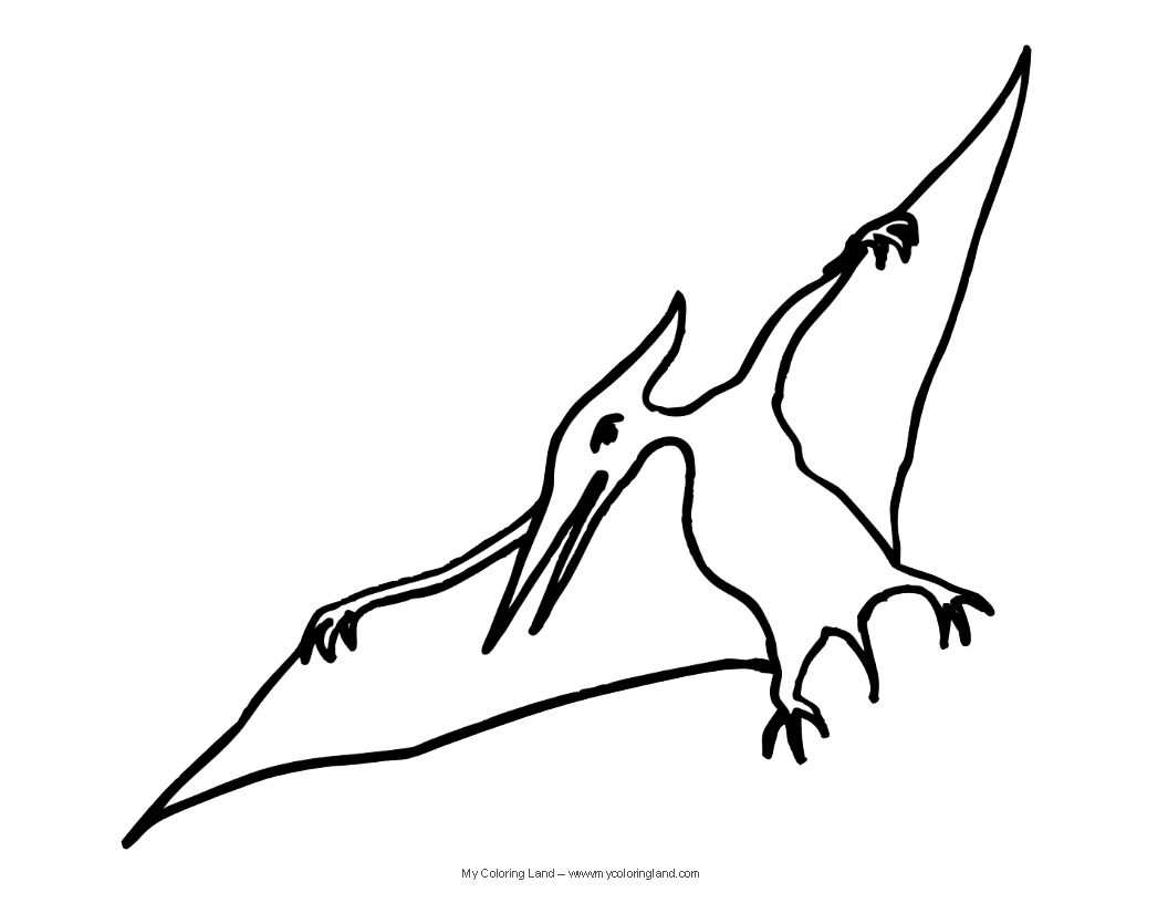 pterodactyl coloring page - cute dinosaur