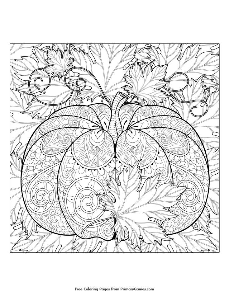 pumpkin coloring pages for adults - 14 pumpkin and leaves