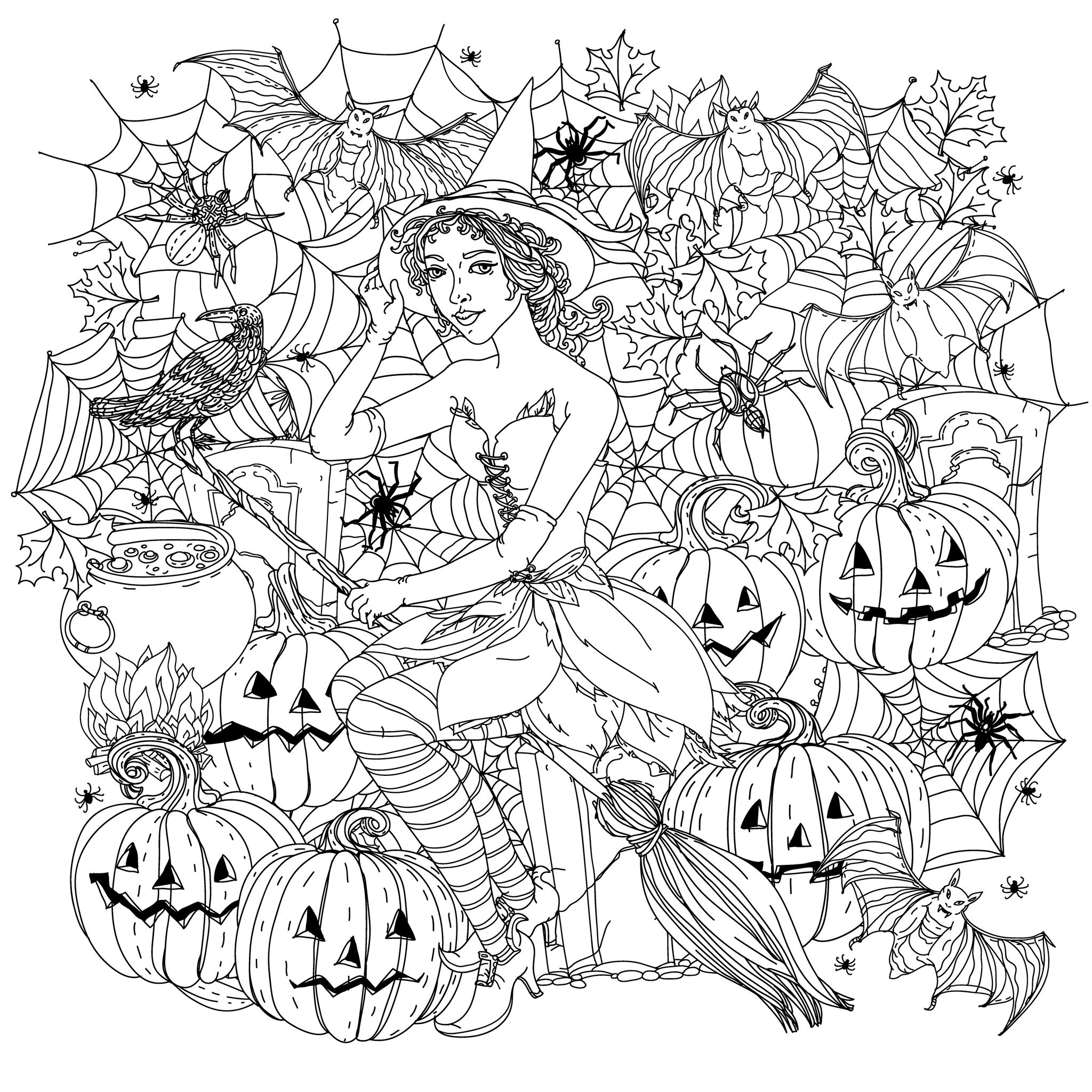 pumpkin coloring pages for adults - halloween adult coloring pages image=events halloween coloring halloween witch with pumpkins by mashabr 1
