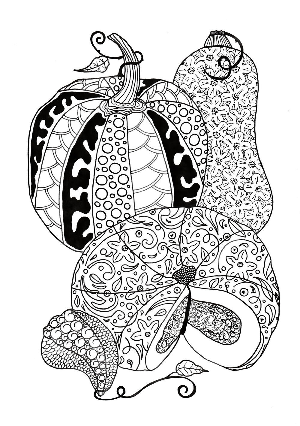 pumpkin coloring pages for adults - Pumpkin Feast Adult Coloring Page