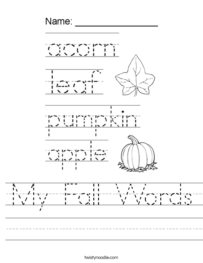 pumpkin coloring pages for preschool - my fall words worksheet