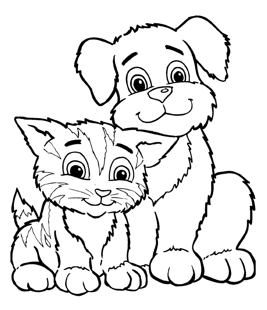 Puppy and Kitten Coloring Pages - Cute Puppy and Kitten Drawings Coloring Pages Gianfreda