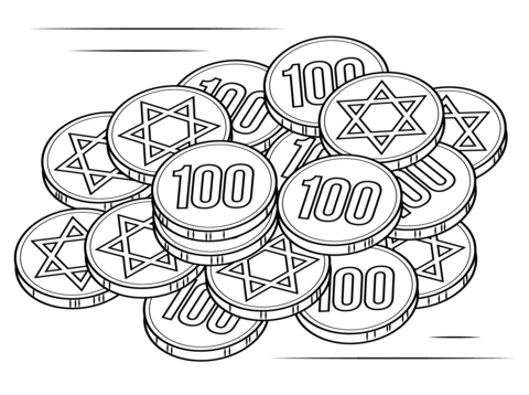 purim coloring pages - chanukka gelt