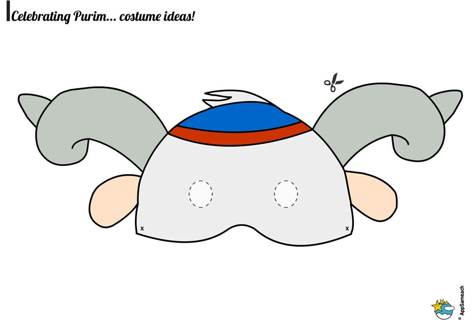 purim coloring pages - purim goat mask 2
