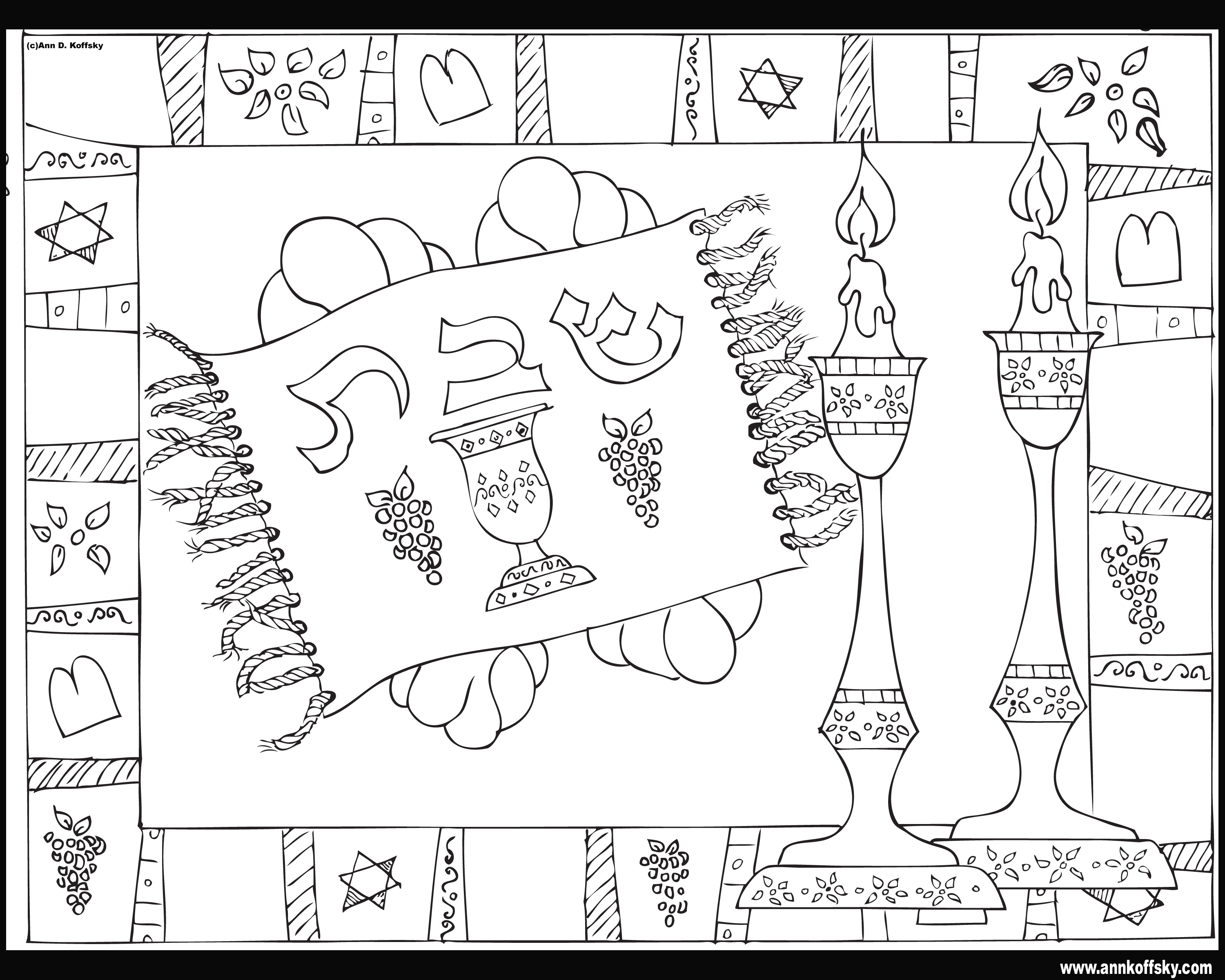 purim coloring pages - shabbat coloring page