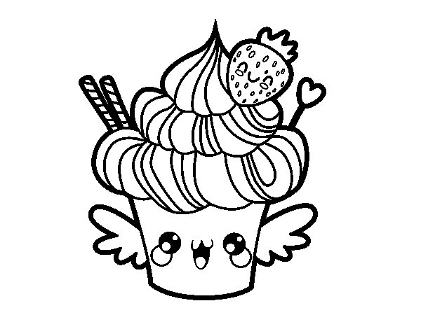 pusheen cat coloring pages - cupcake kawaii a la fraise
