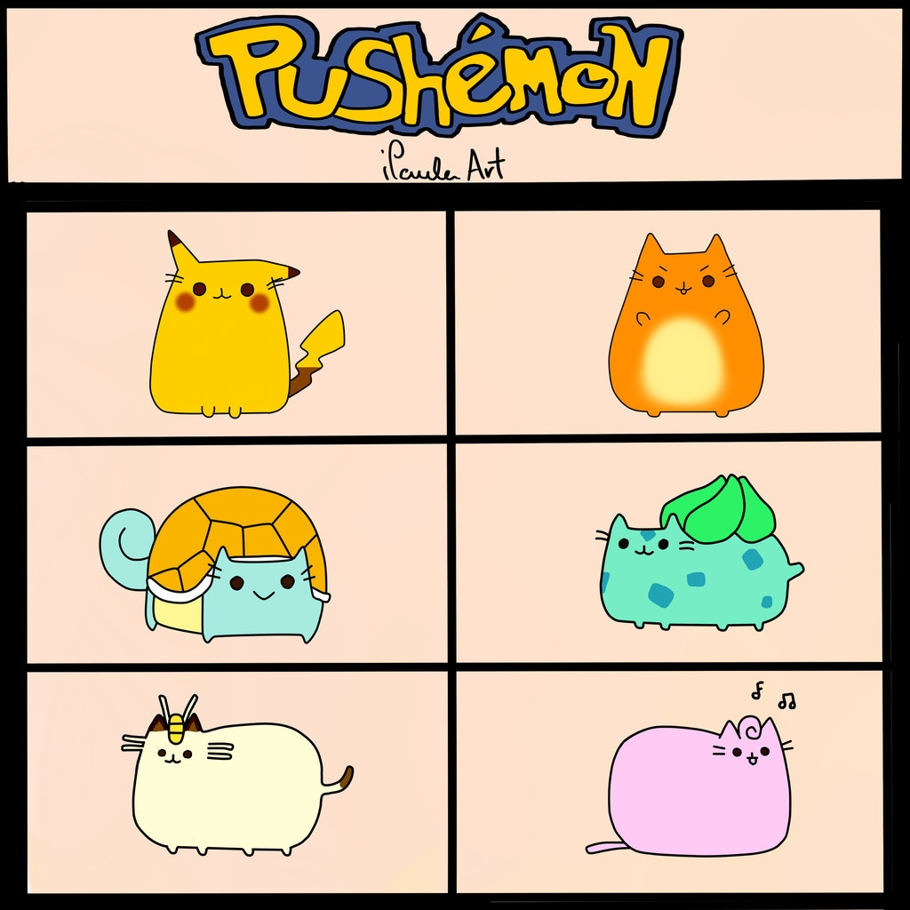 pusheen cat coloring pages - Pokemon Pushemon Pusheen