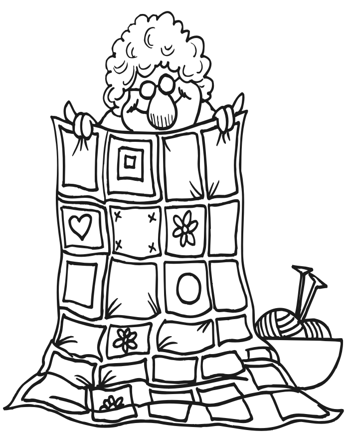 quilt coloring pages - grandma quilt
