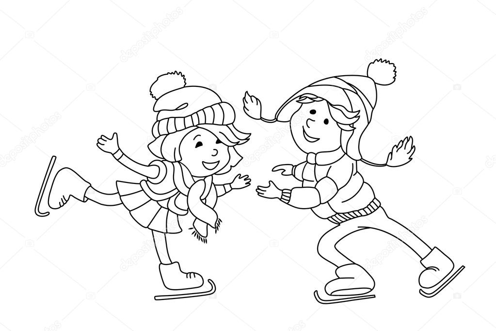 quiver coloring pages - stock illustration boy and girl skating on