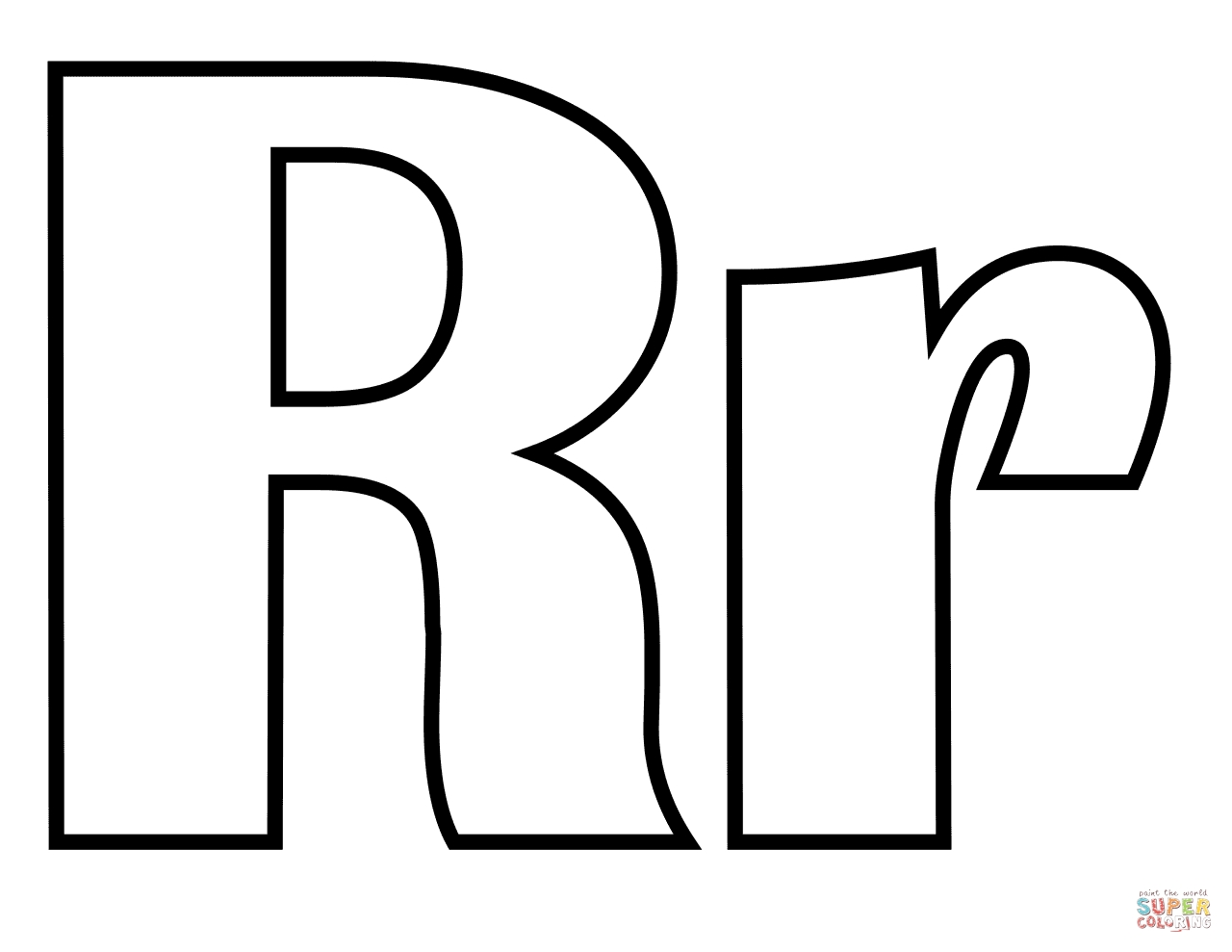 r coloring page - classic letter r