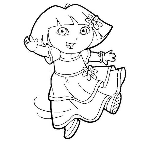 raccoon coloring page - dora is dancing in dora the explorer coloring page