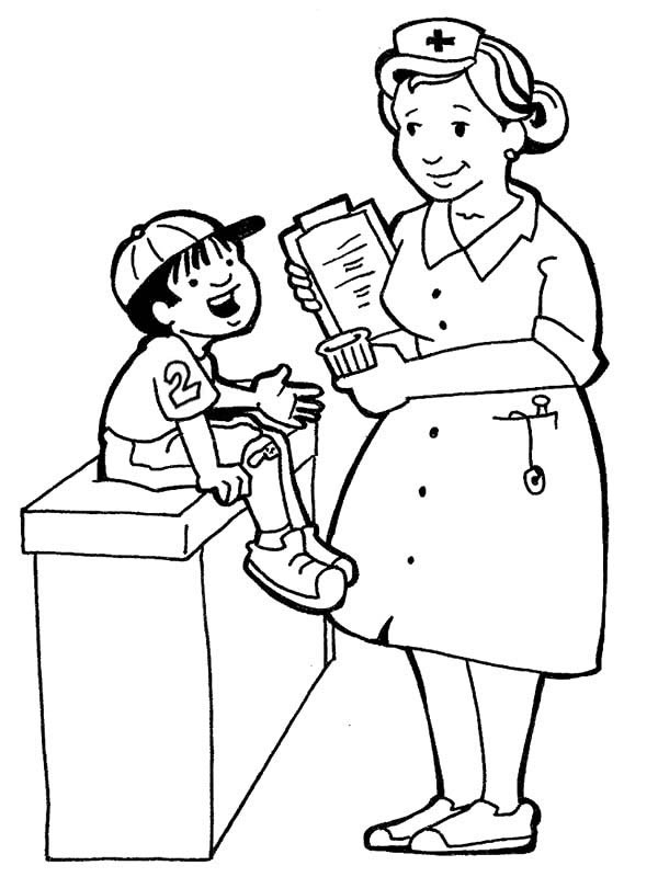 raccoon coloring page - nurse is taking care of a child coloring page