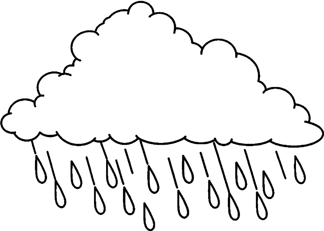 rain coloring page - printable cloud coloring pages