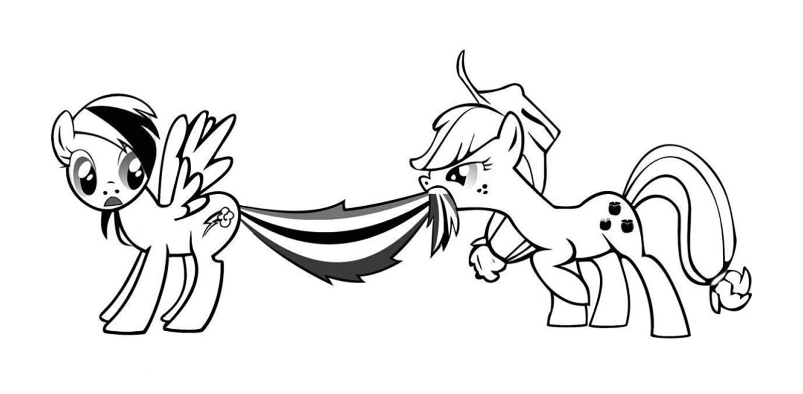 rainbow coloring page - applejack pulls the tail of rainbow dash
