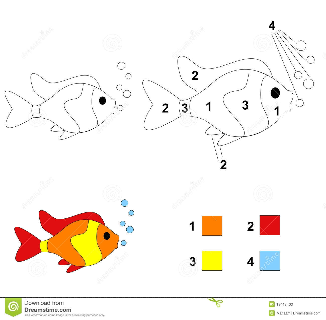 rainbow fish coloring page - stock photos color number game fish image