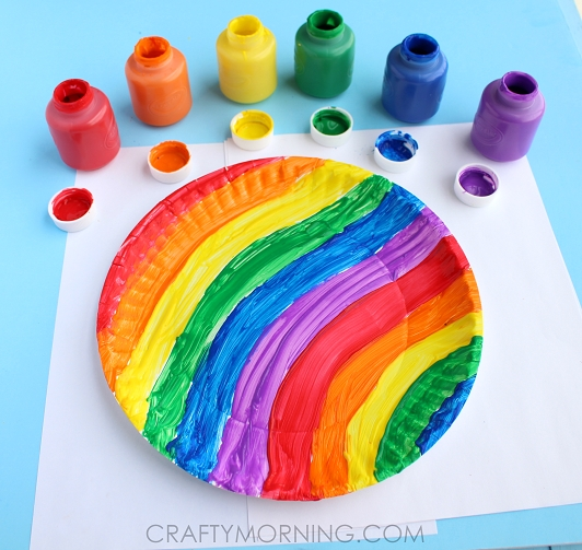 rainbow fish coloring page - end of the rainbow paper plate twirler kids craft