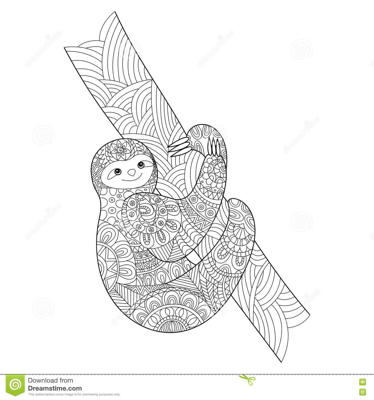 rainforest animals coloring pages - stock illustration sloth coloring book adults vector illustration image