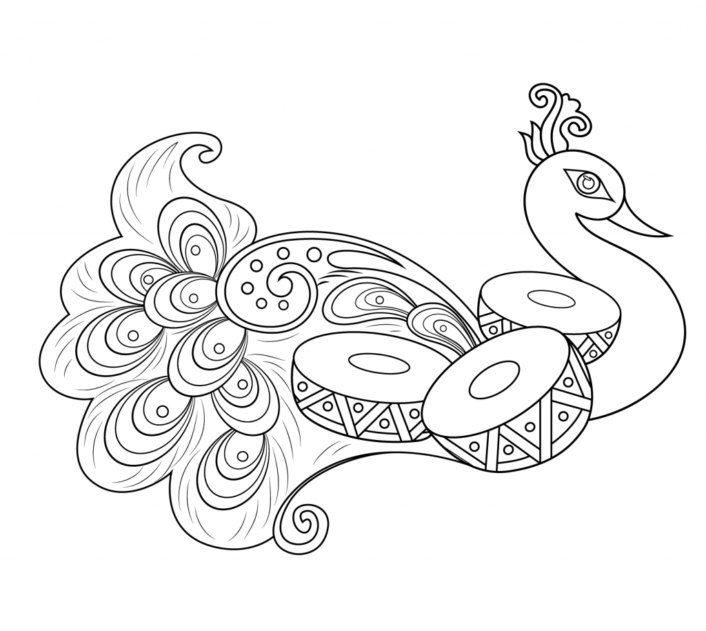 rangoli coloring pages - rangoli with peacock coloring page pattern