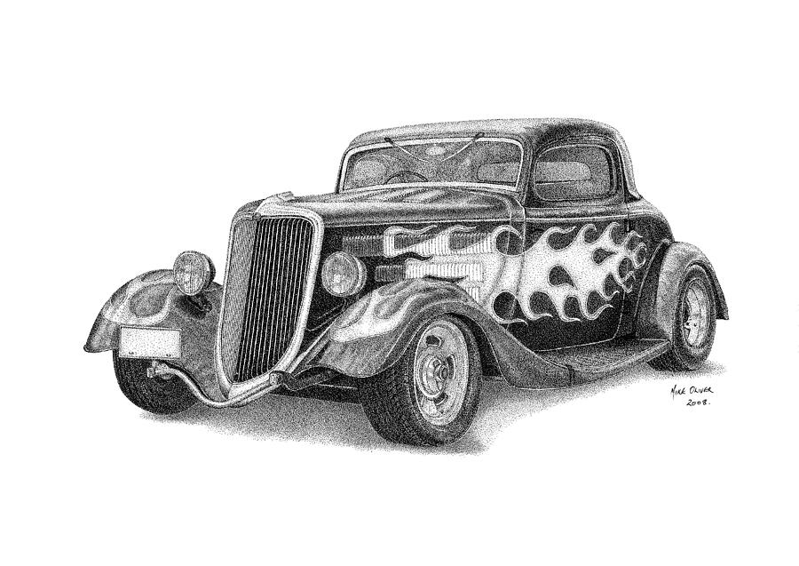 rat coloring pages - hot rod drawing pointallism mike oliver