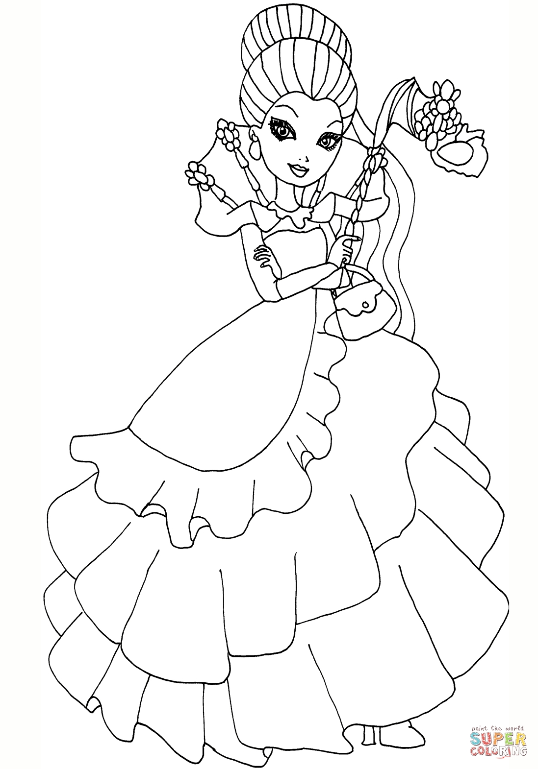 raven coloring pages - ever after high throne ing raven queen version=print