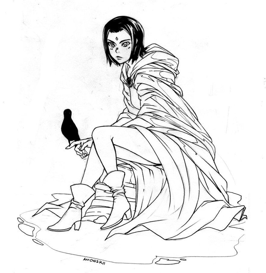 Raven Coloring Pages - Teen Titans Raven Coloring Page Az Coloring Pages