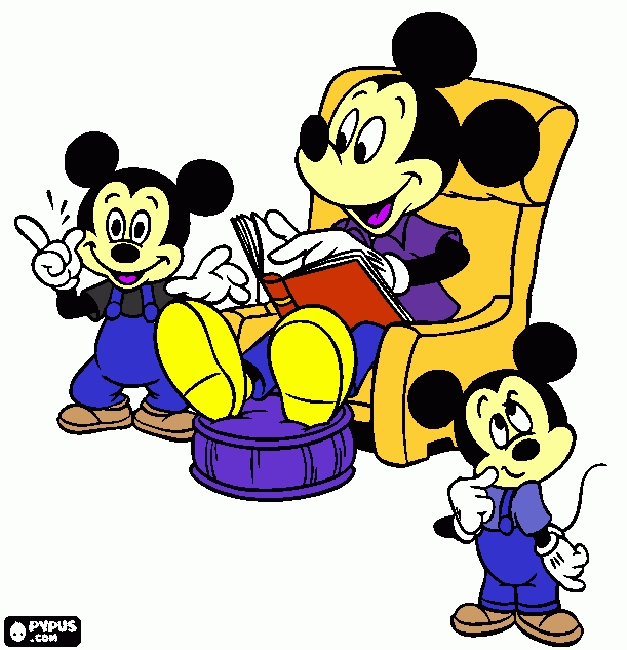 reading coloring pages - coloring page mickey reading a book to