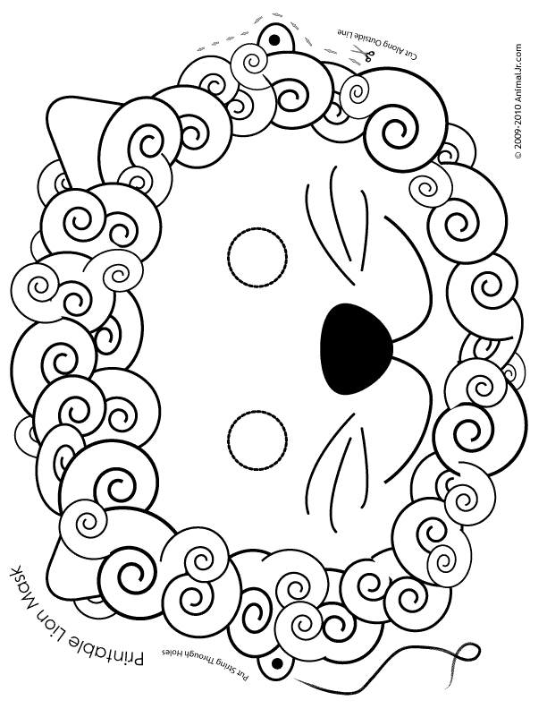 reading coloring pages - lion mask coloring