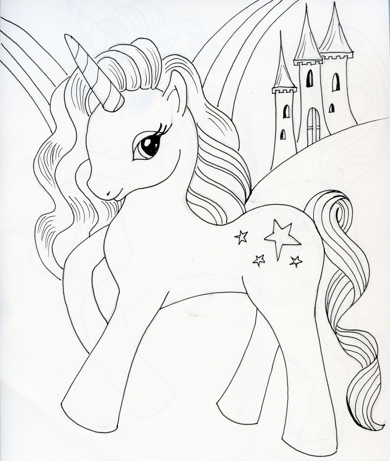 realistic coloring pages - how to draw a unicorn with wings step by step