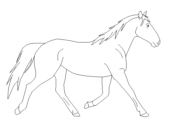 realistic dragon coloring pages - Trotting Horse Base