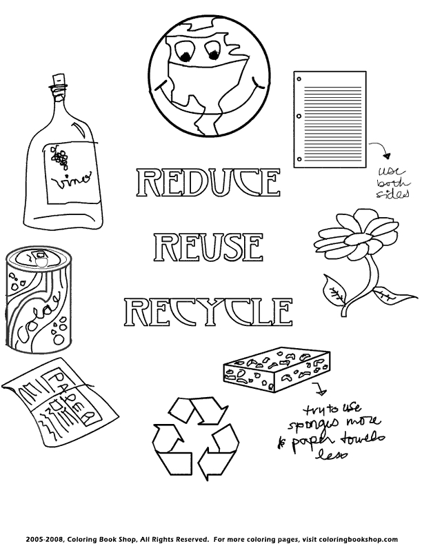 recycling coloring pages - recycle coloring page