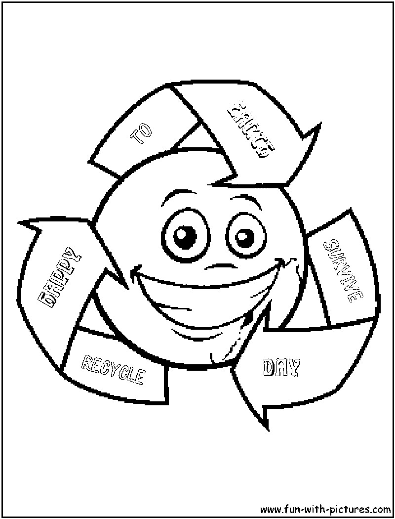 recycling coloring pages - recycle earth coloring page