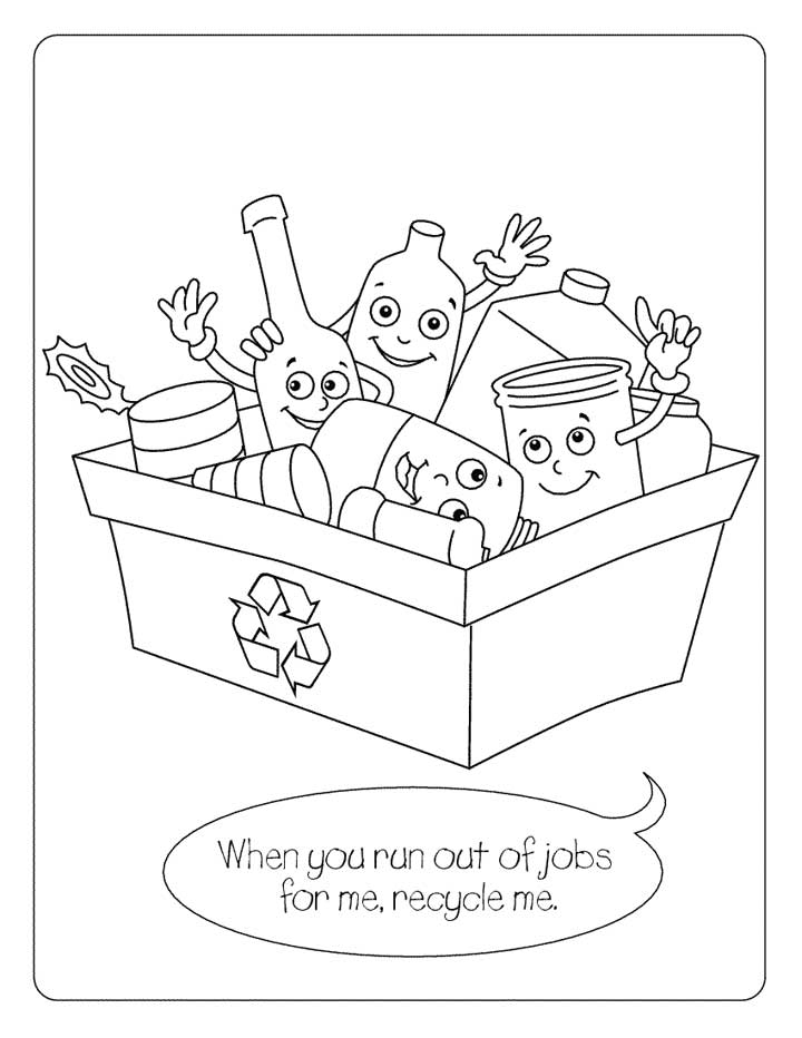 recycling coloring pages - recycling