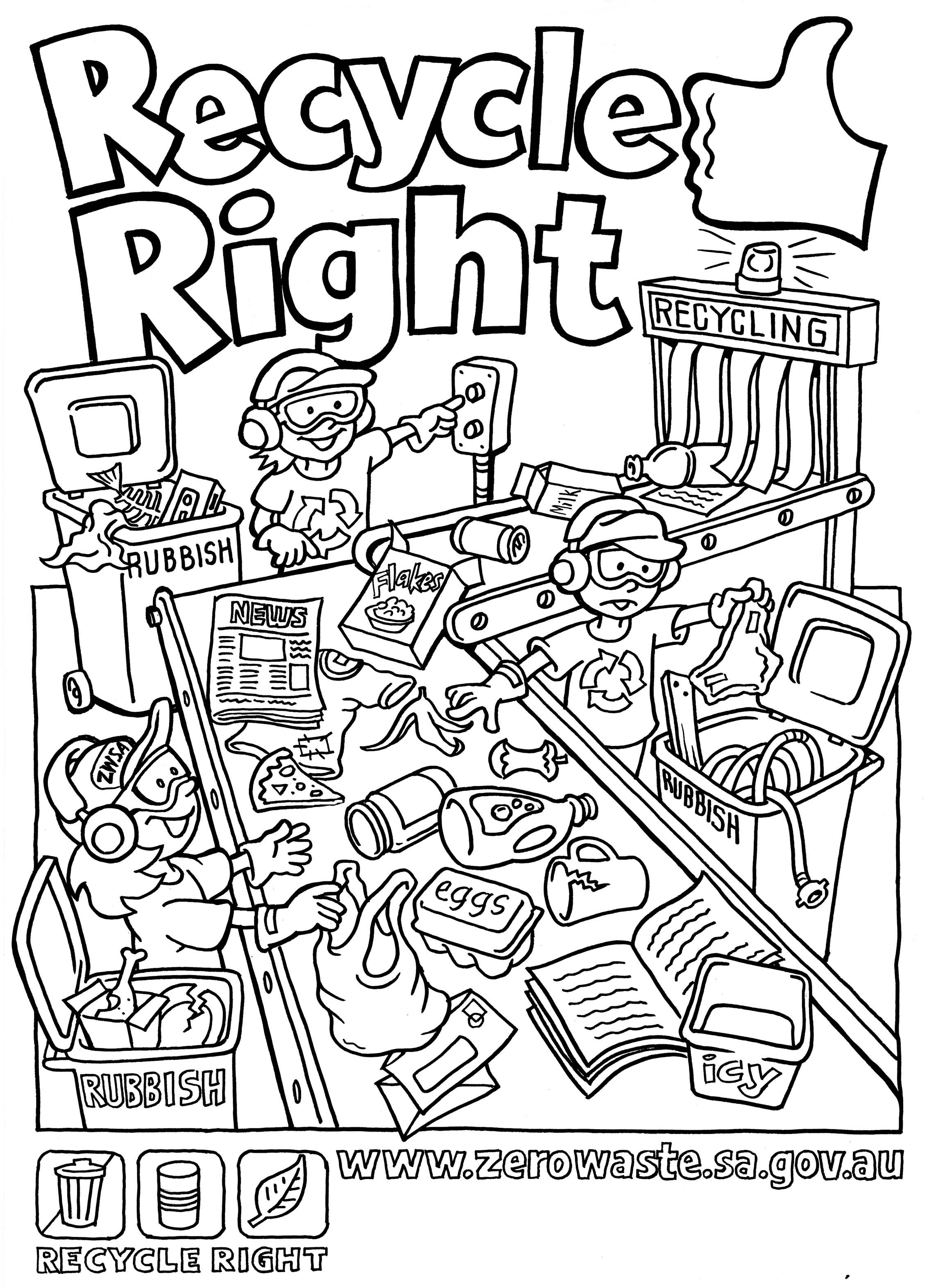 recycling coloring pages - recycling coloring pages for kids