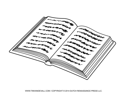 red coloring page - open book clip art template